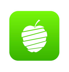 sliced apple icon digital green vector image