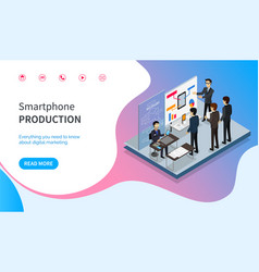 Smartphone production line website with info vector