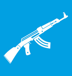 Submachine gun icon white vector