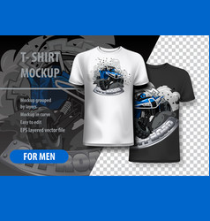 T-shirt template fully editable with blue vector