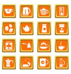 Tea and coffee icons set orange vector