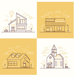 Town architecture - set of thin line design style vector