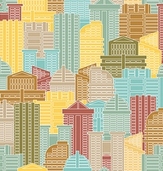 Urban seamless pattern Colorful buildings in city vector
