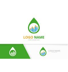 Water drop and graph logo combination unique vector