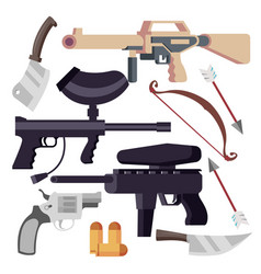 weapon set weapons icons pistol shotgun vector image