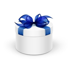 White Round Gift Box with Blue Ribbon and Bow vector image