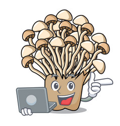 With laptop enoki mushroom character cartoon vector