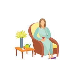 Woman sitting on armchair in resting room cartoon vector