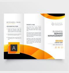Yellow orange black trifold brochure flyer design vector