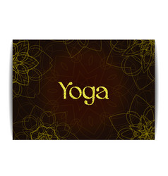 Yoga banner with floral mandalas and golden text vector