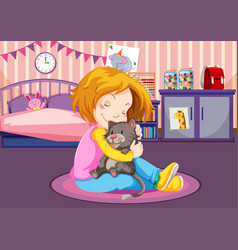 Young girl cuddling a kitten vector