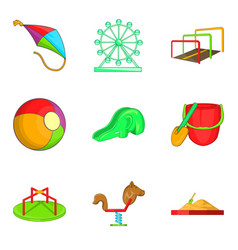 ferris wheel icons set cartoon style vector image vector image