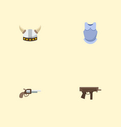 flat icons viking helmet revolver gun and other vector image