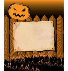 Halloween frame with poster and pumpkin vector image vector image