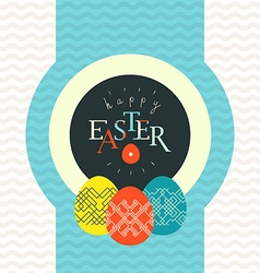 Happy Easter greeting card design Pained eggs vector image
