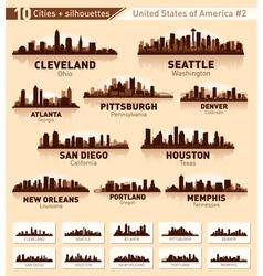 Skyline city set 10 cities of USA 2 vector image