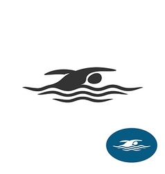 Swimming man black silhouette logo Water waves vector image