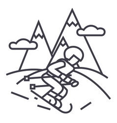 travel winterskier skiing in high mountains vector image