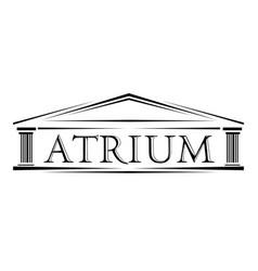 atrium covered portico classical arch logo vector image