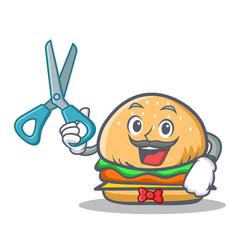 barber burger character fast food vector image vector image