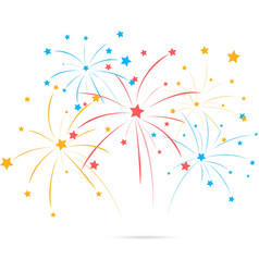 Fireworks with star on white background vector image
