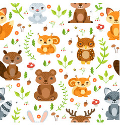 seamless pattern of forest animals and vector image