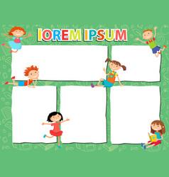 brochure backgrounds with cartoon children vector image