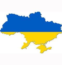 Map of Ukraine with national flag vector image vector image