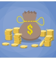 money bag and stacks of gold coins vector image vector image
