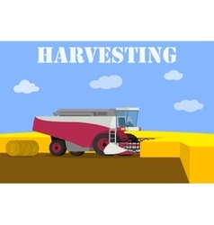 red harvester working on the field vector image