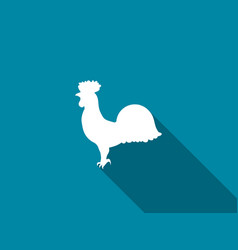 Rooster icon with a long shadow vector