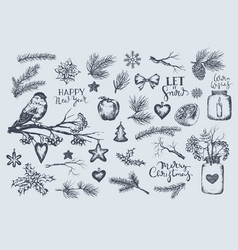 set of winter christmas new year vector image