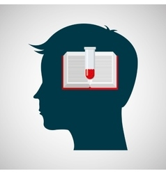 Silhouette head laboratory book and flask vector