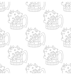 Beer mugs seamless contour vector image vector image