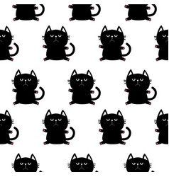 black sitting cat head with paw print cute vector image