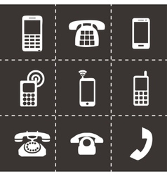 black telephone icons set vector image vector image