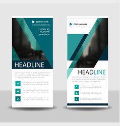 blue triangle roll up business brochure flyer vector image vector image