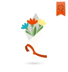 Bouquet of Flowers With Ribbon vector image