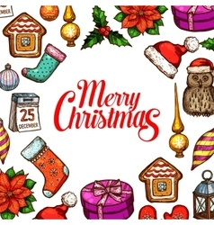 Christmas day holiday poster with xmas sketches vector