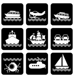 icons boat vector image vector image