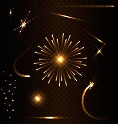 Set of flare on dark background vector image