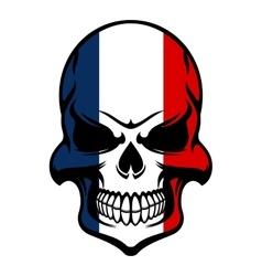 Skull in France flag colors vector image