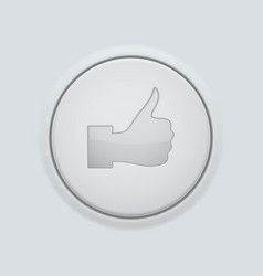 Thumbs up icon white round plastic button vector