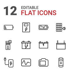 12 battery icons vector
