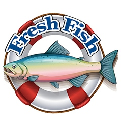 A fresh fish label with a big fish vector