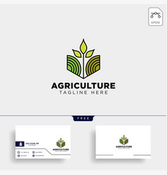 Agriculture eco green line art logo template icon vector