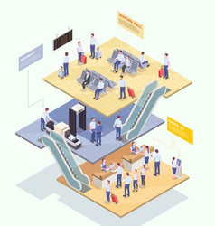Airport stages isometric composition vector