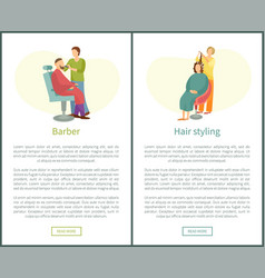 Barber shop and hair styling posters hairdresser vector