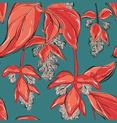 beautiful red seagreen vintage floral pattern vector image