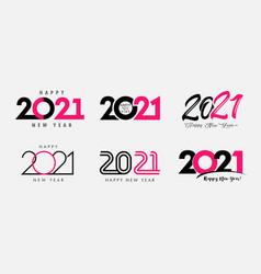 big set 2021 happy new year logo text design vector image